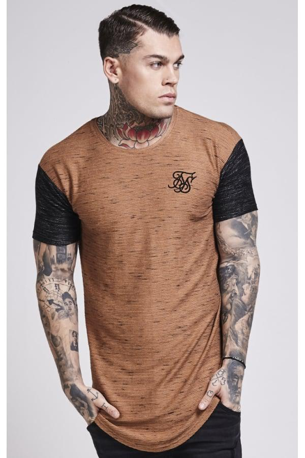 1b0ceec1ff79 Lyst - SIKSILK Inject Waffle Contrast Curved Hem Tee for Men