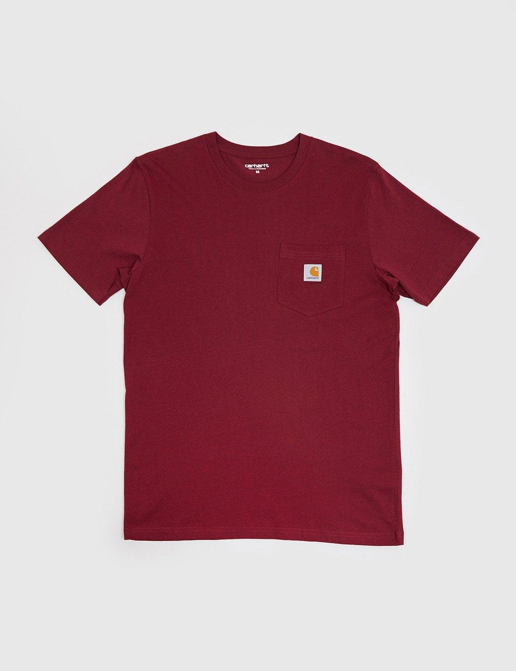 Lyst carhartt pocket t shirt in red for men for Carhartt burgundy t shirt