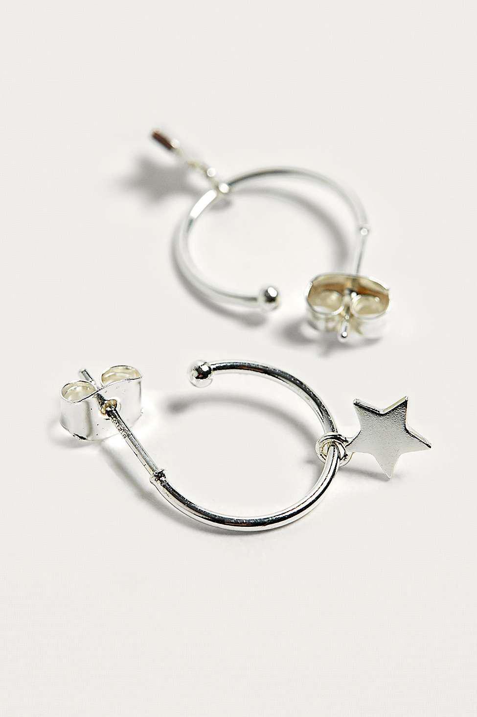 1f9ed69ffa Estella Bartlett Star Charm Silver-plated Hoop Earrings - Womens All ...