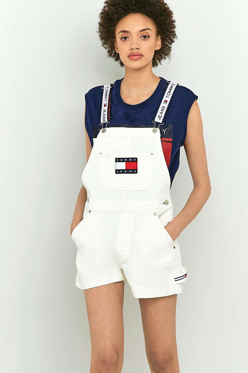 e979b7fb6 Tommy Hilfiger '90s White Shorts Dungarees - Womens L in White - Lyst