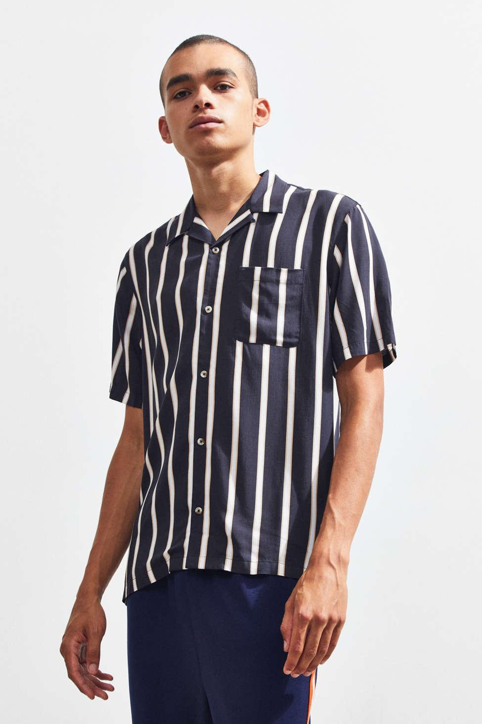 69326492d Urban Outfitters Uo Sport Striped Rayon Short Sleeve Button-down ...