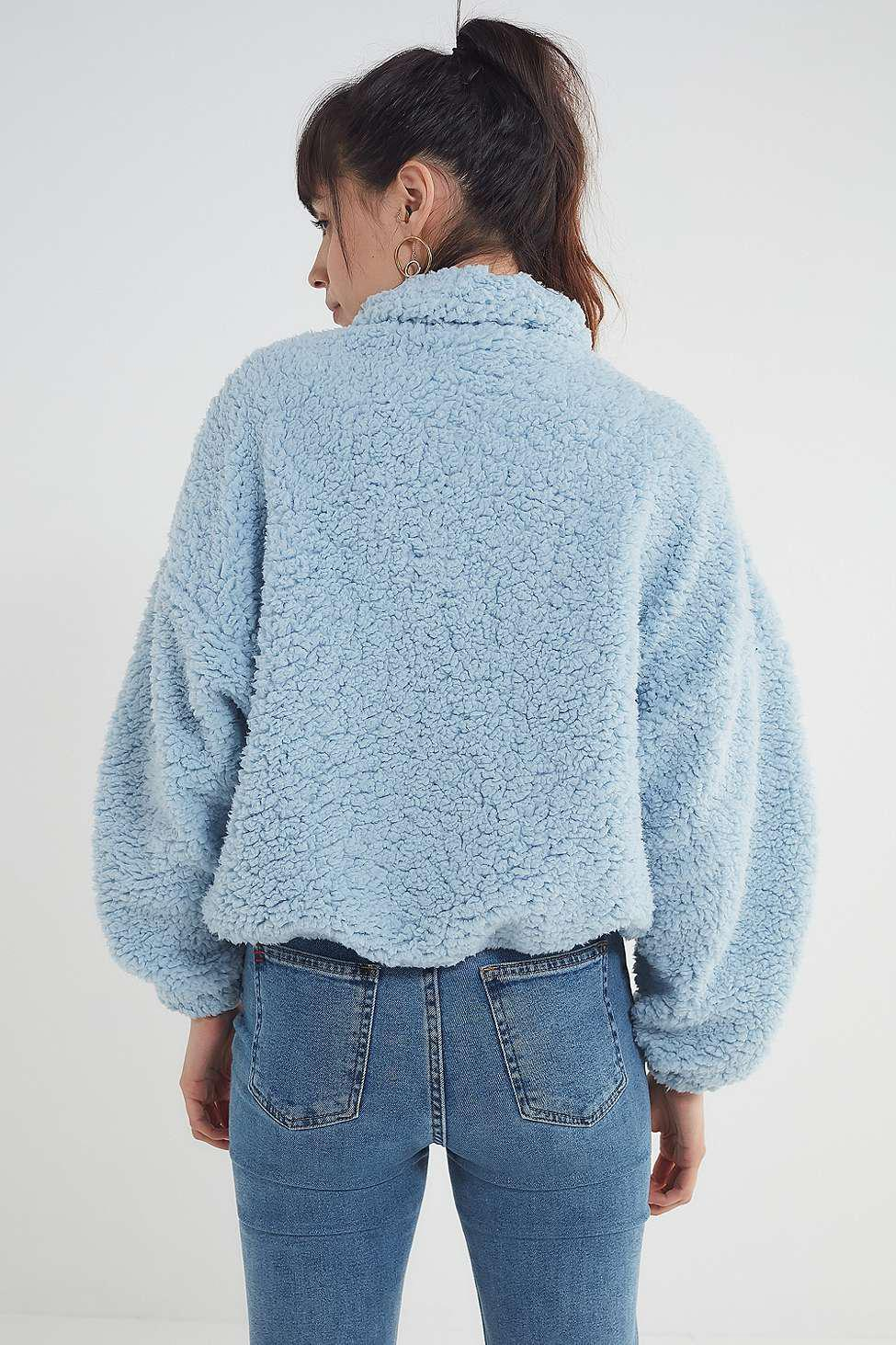 Urban Outfitters Uo Willow Fuzzy Blue Drawstring Teddy Jacket In