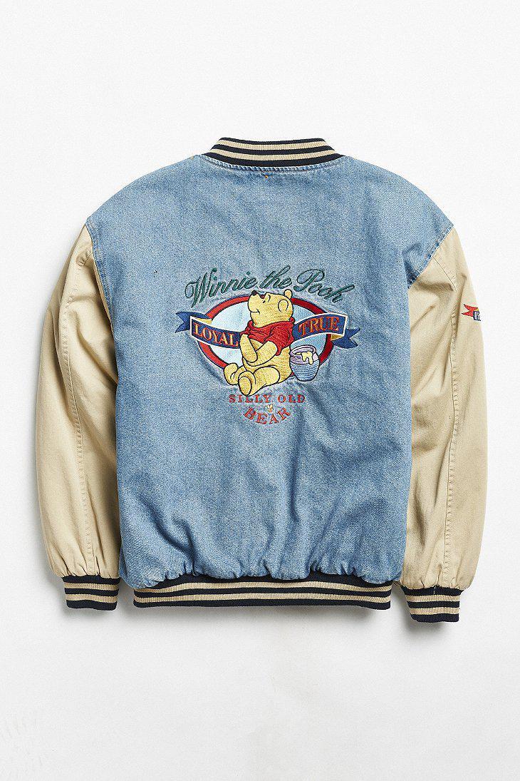 007789adc0f5 Lyst - Urban Outfitters Vintage Winnie The Pooh Denim Varsity Jacket ...