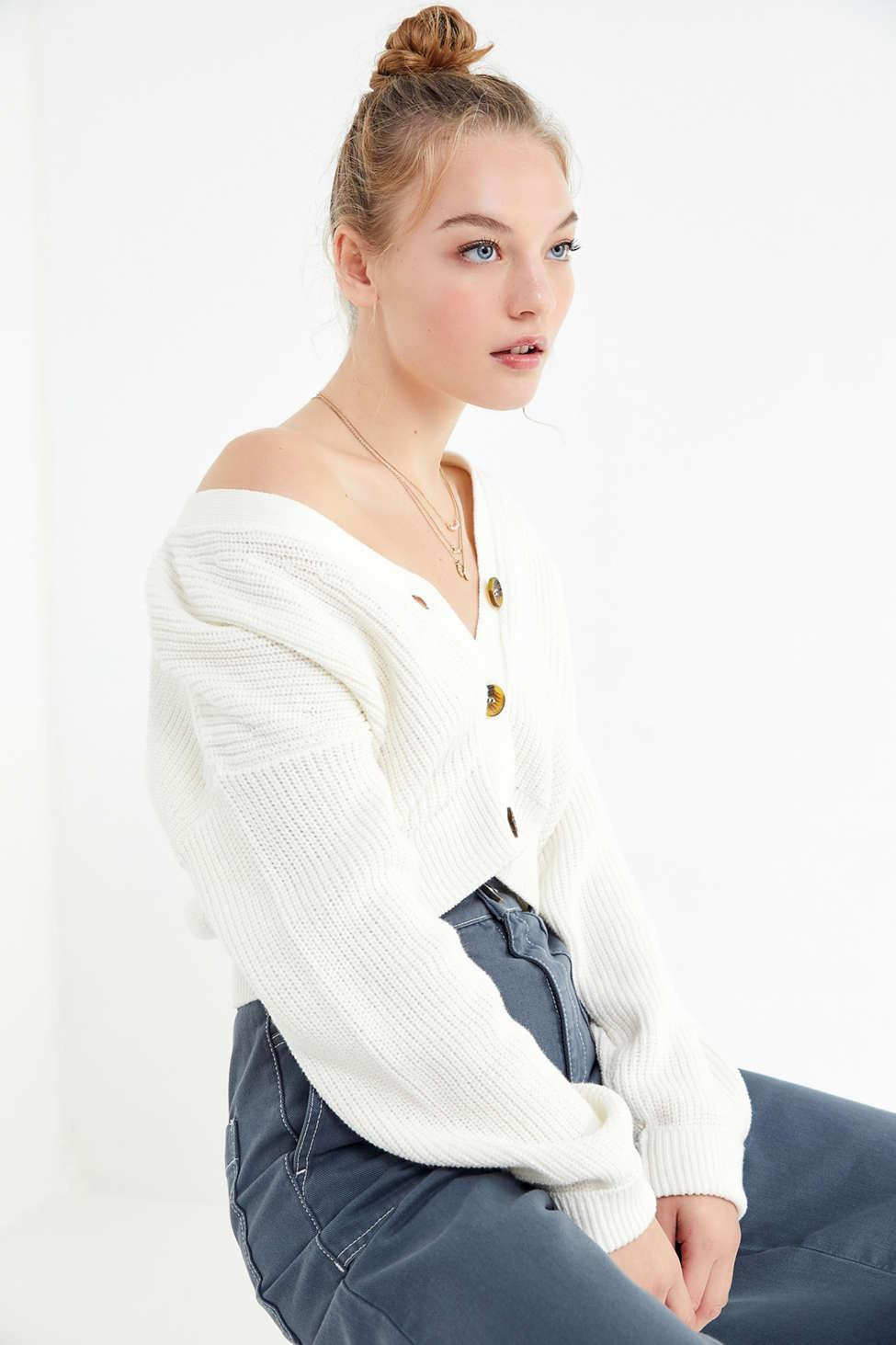 e77aa2bf1f9de Lyst - Urban Outfitters Uo Kai Cropped Cardigan in White