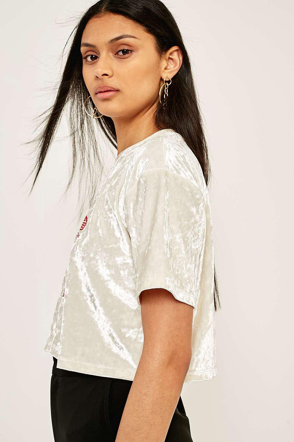 76a7843b Urban Outfitters Urban Outfitters Crushed Velvet Graphic T-shirt ...
