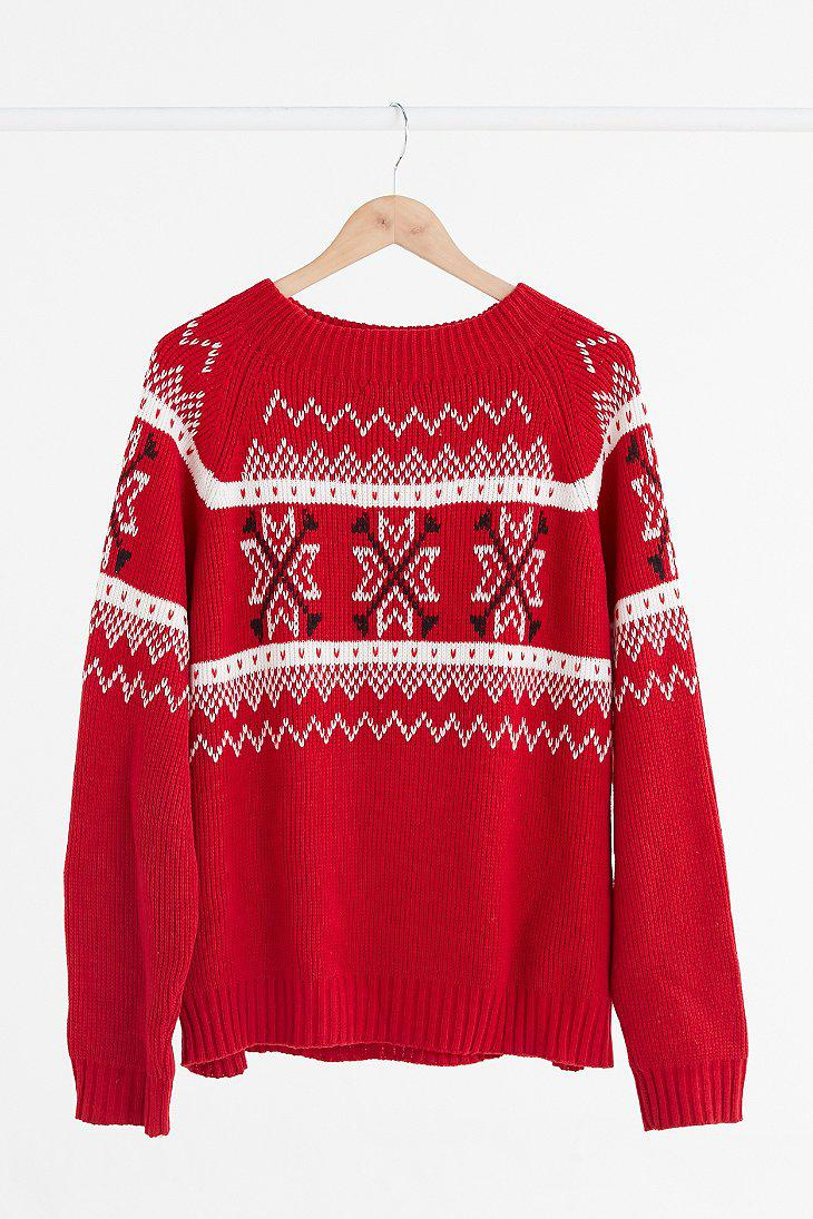 Urban outfitters Vintage Red   White Fair Isle Ski Sweater in Red ...