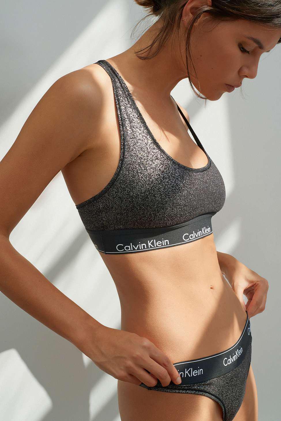 dc13aede5c467 Calvin Klein Modern Cotton Racerback Bralette - Womens M in Black - Lyst