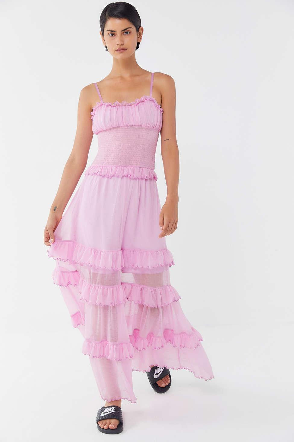 732082c63b Urban Outfitters - Pink Uo Tampa Gauze Tiered Ruffle Maxi Dress - Lyst.  View fullscreen
