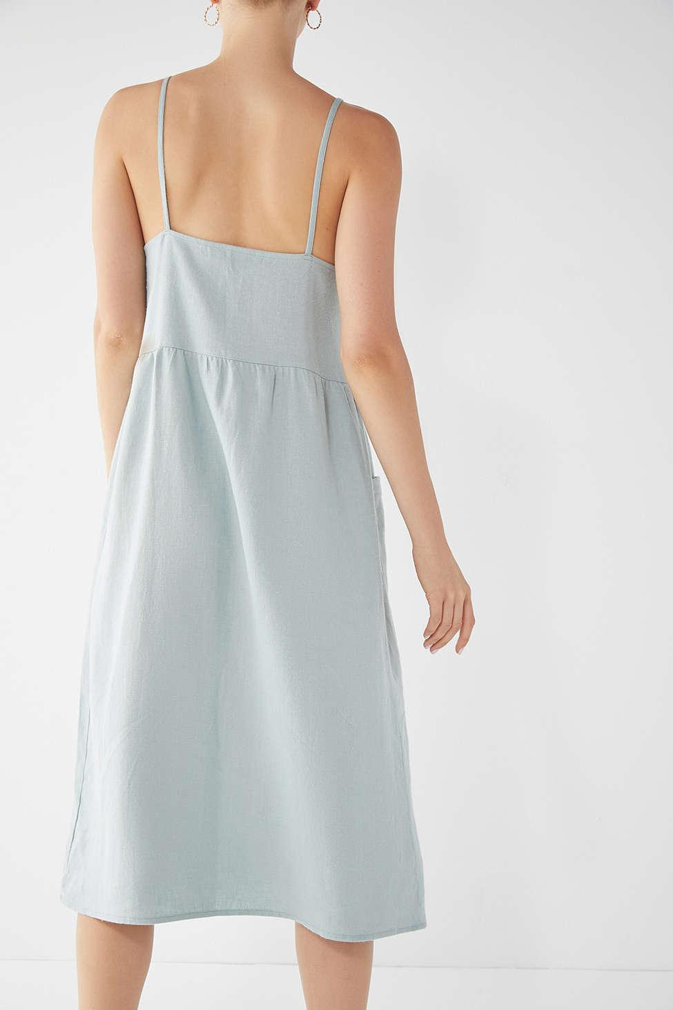 04035445711 Urban Renewal Remnants Linen Babydoll Midi Dress in Blue - Lyst