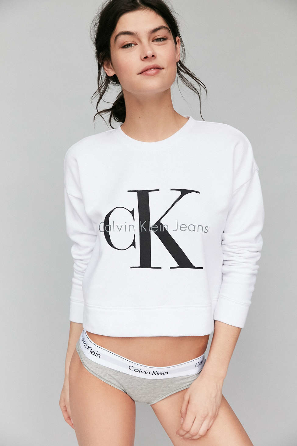 lyst calvin klein for uo cropped pullover sweatshirt in. Black Bedroom Furniture Sets. Home Design Ideas