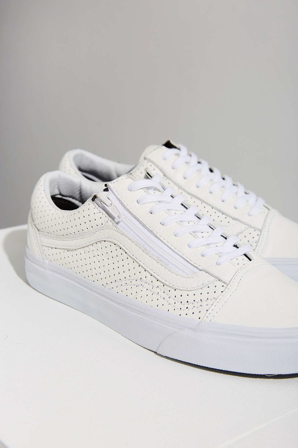 c34469b79120 Vans Perforated Leather Old Skool Zip Sneaker in White - Lyst