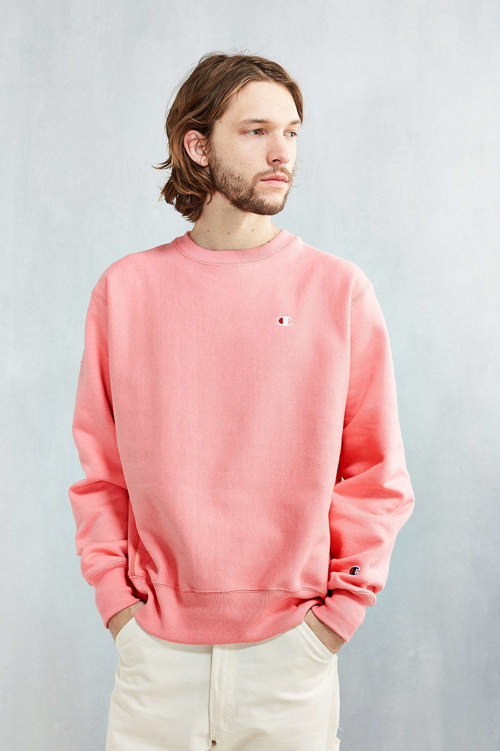 Champion Reverse Weave Crew-neck Sweatshirt in Pink for Men | Lyst