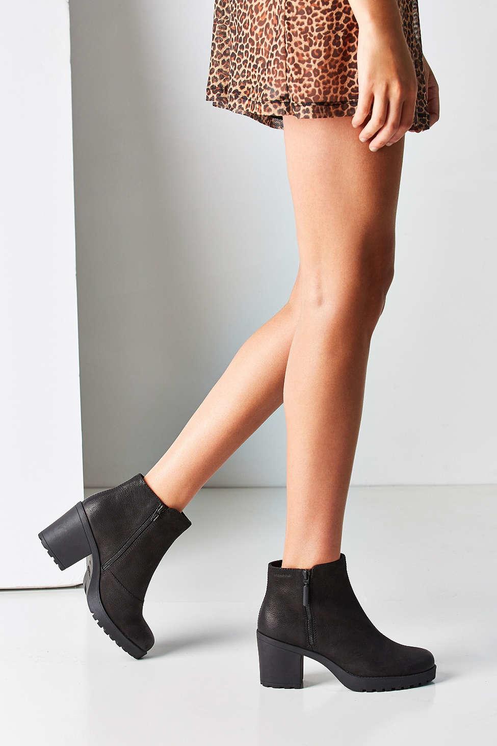 5e84246988d288 Lyst - Vagabond Nubuck Grace Double Zip Ankle Boot in Black