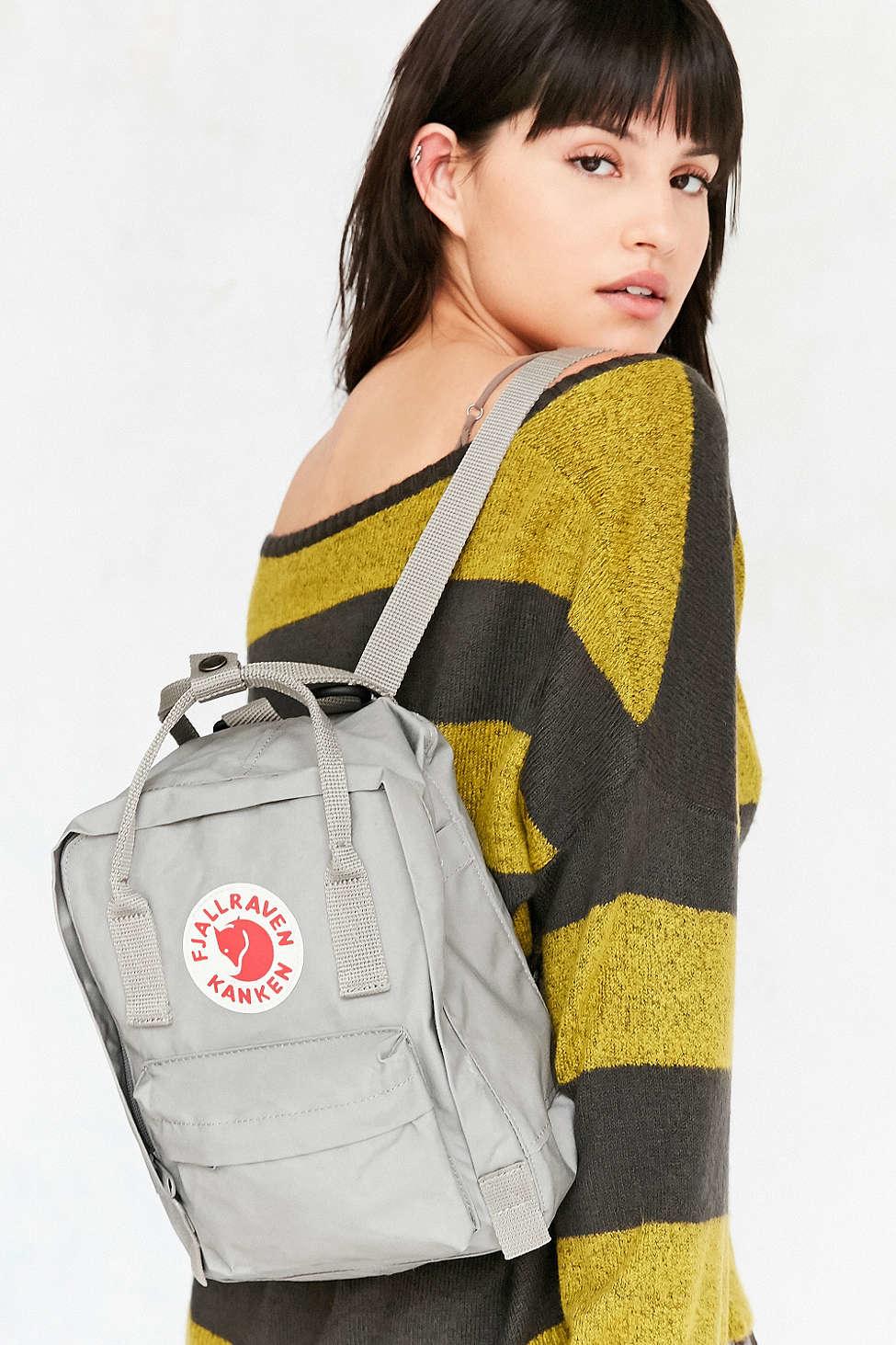 fjallraven kanken mini backpack in gray lyst. Black Bedroom Furniture Sets. Home Design Ideas