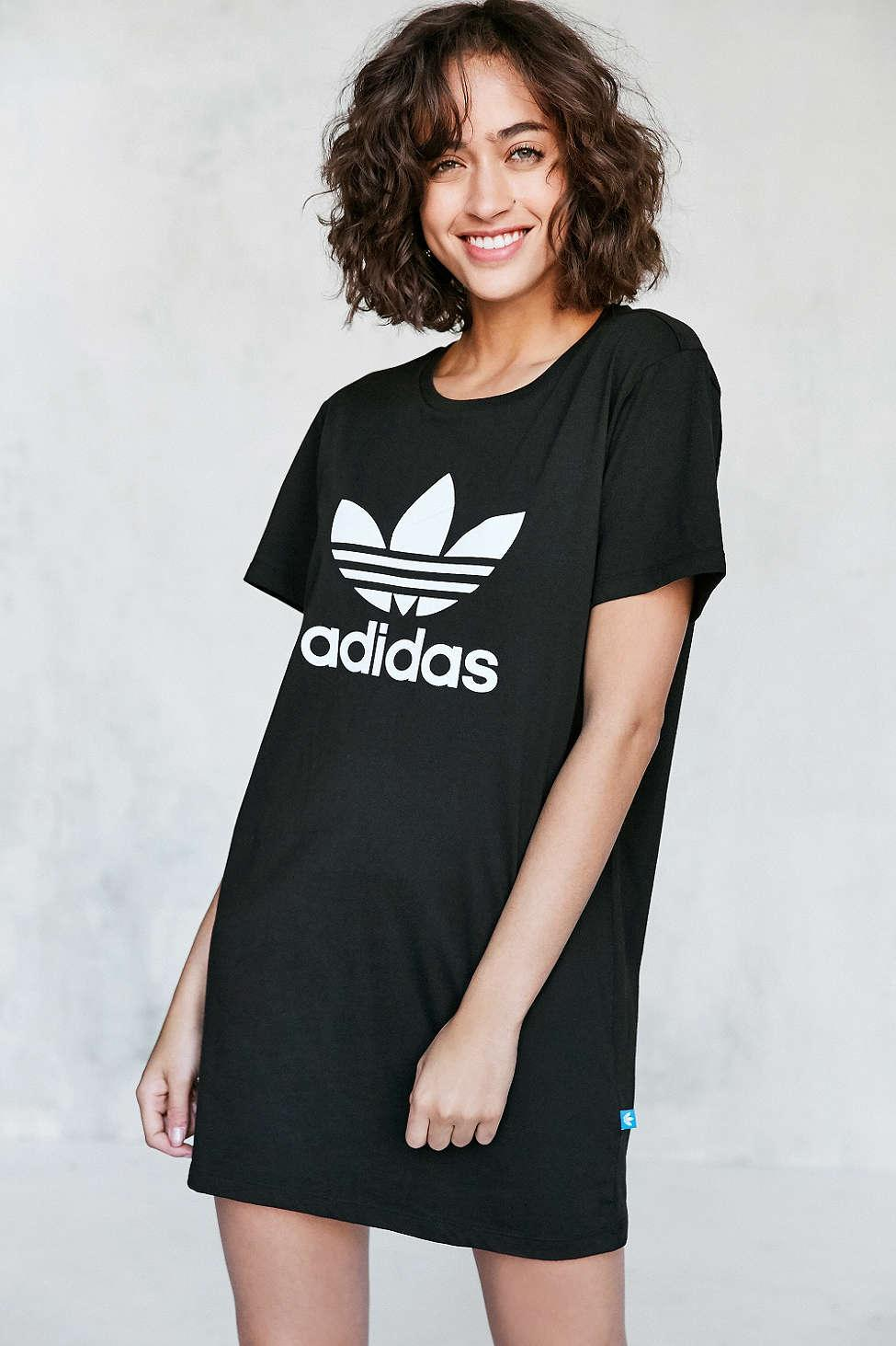 Adidas originals Originals Trefoil Oversized T-shirt Mini Dress in Black | Lyst