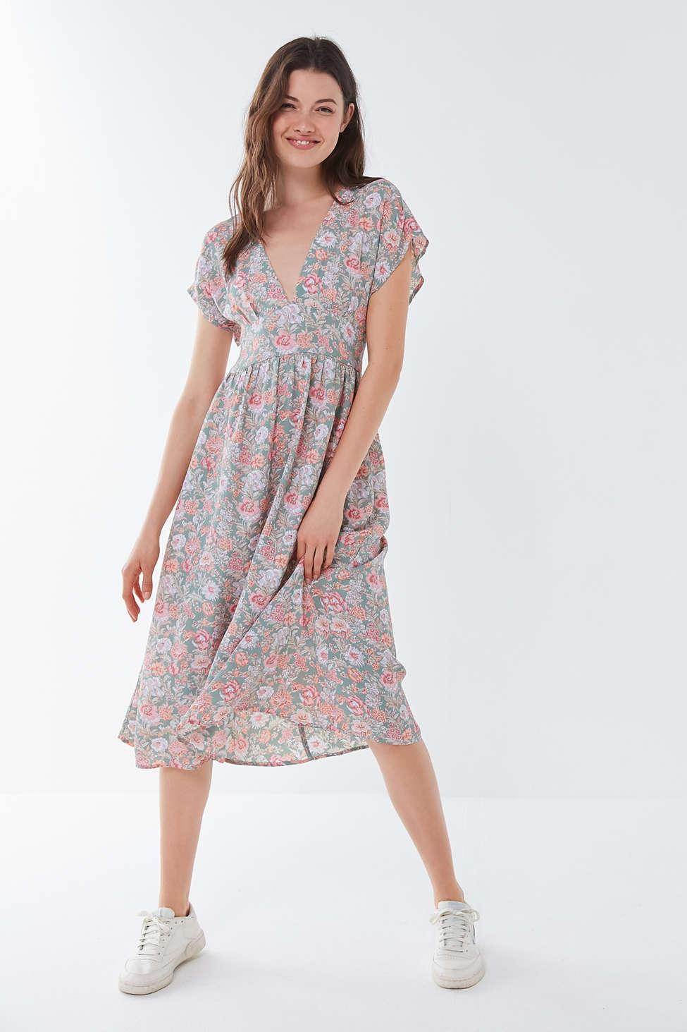 66eda1d0425e8 Urban Renewal. Women's Remnants Floral Rayon Deep V Midi Dress