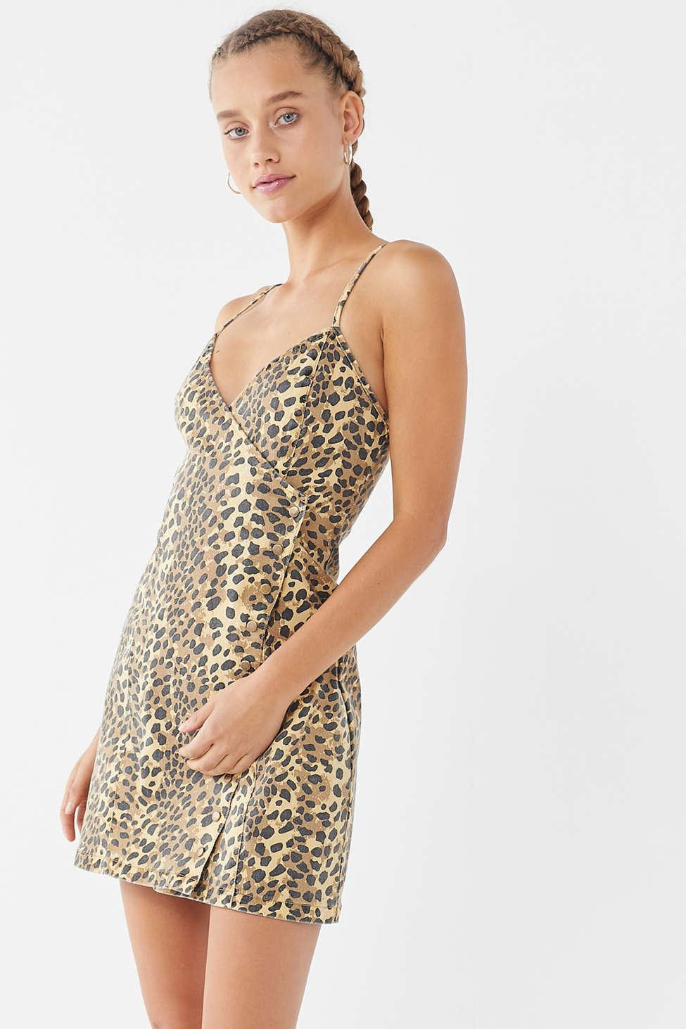 Lyst - MINKPINK Jagger Leopard Print Denim Wrap Dress d330527b6