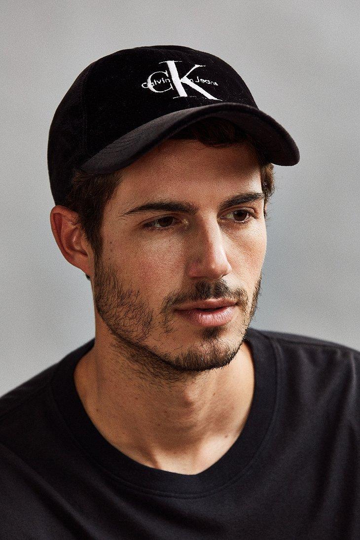 Lyst - Calvin Klein Velvet Baseball Hat in Black for Men b9f7e735cd5