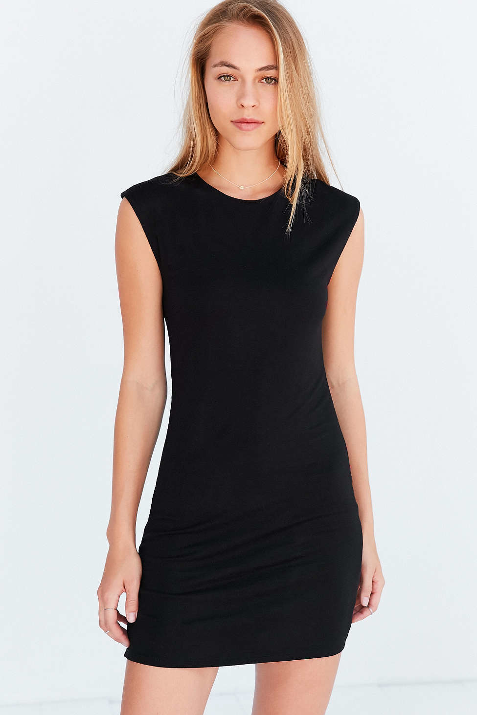 silence noise mindy mini muscle t shirt dress in black