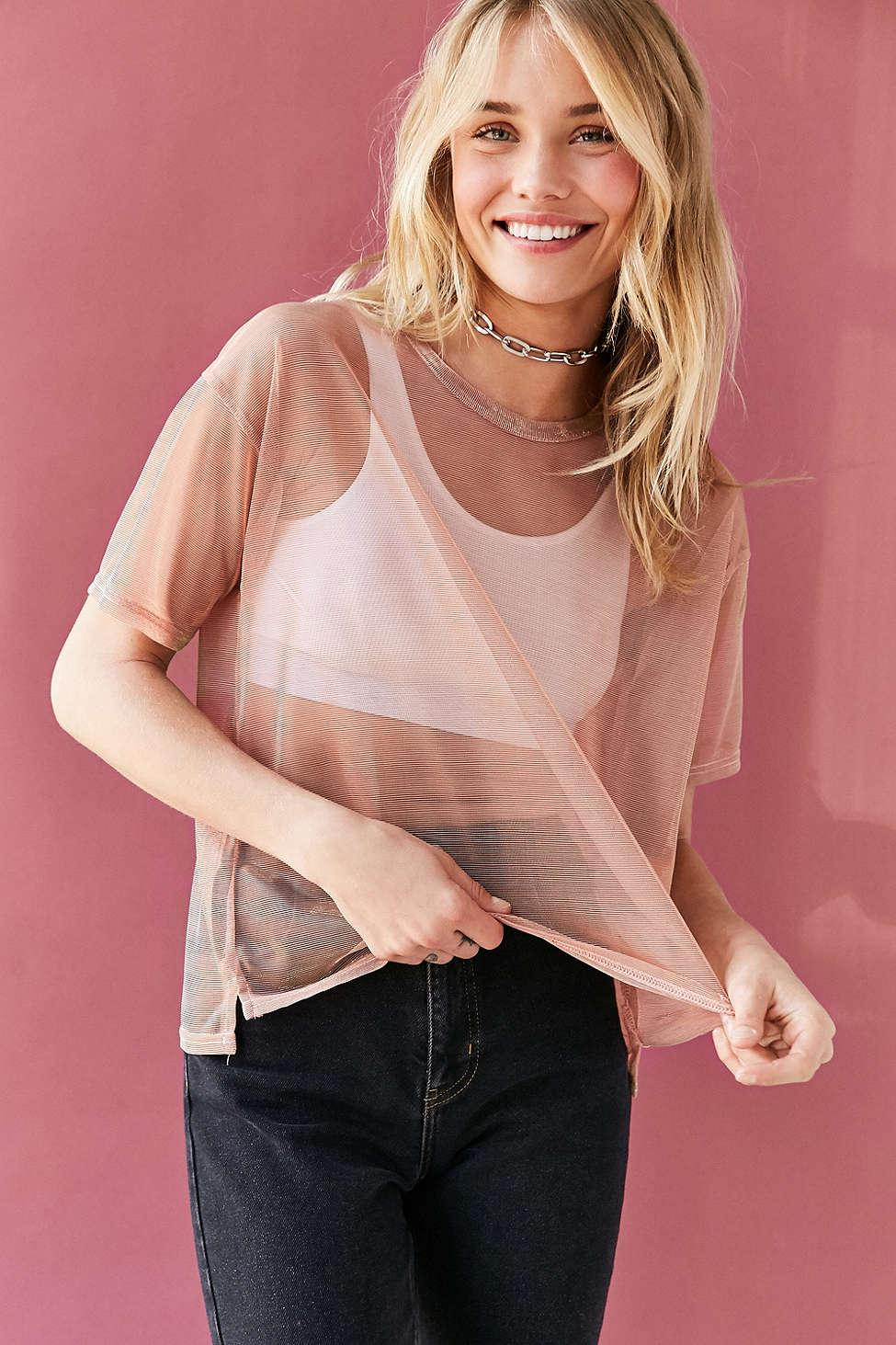 7655bc68ff19 Silence + Noise Metallic Shimmer Mesh Tee in Pink - Lyst