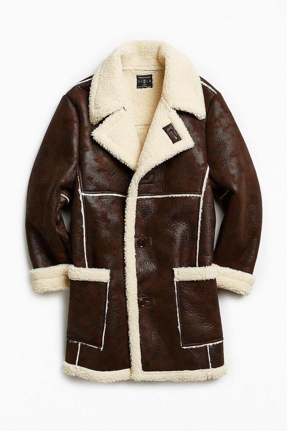 Urban outfitters Uo Faux Shearling Barn Coat in Brown for Men | Lyst