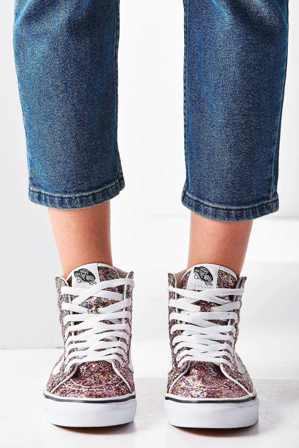 Lyst - Vans Chunky Glitter Sk8-hi Slim Sneaker in Blue 6cd84e507