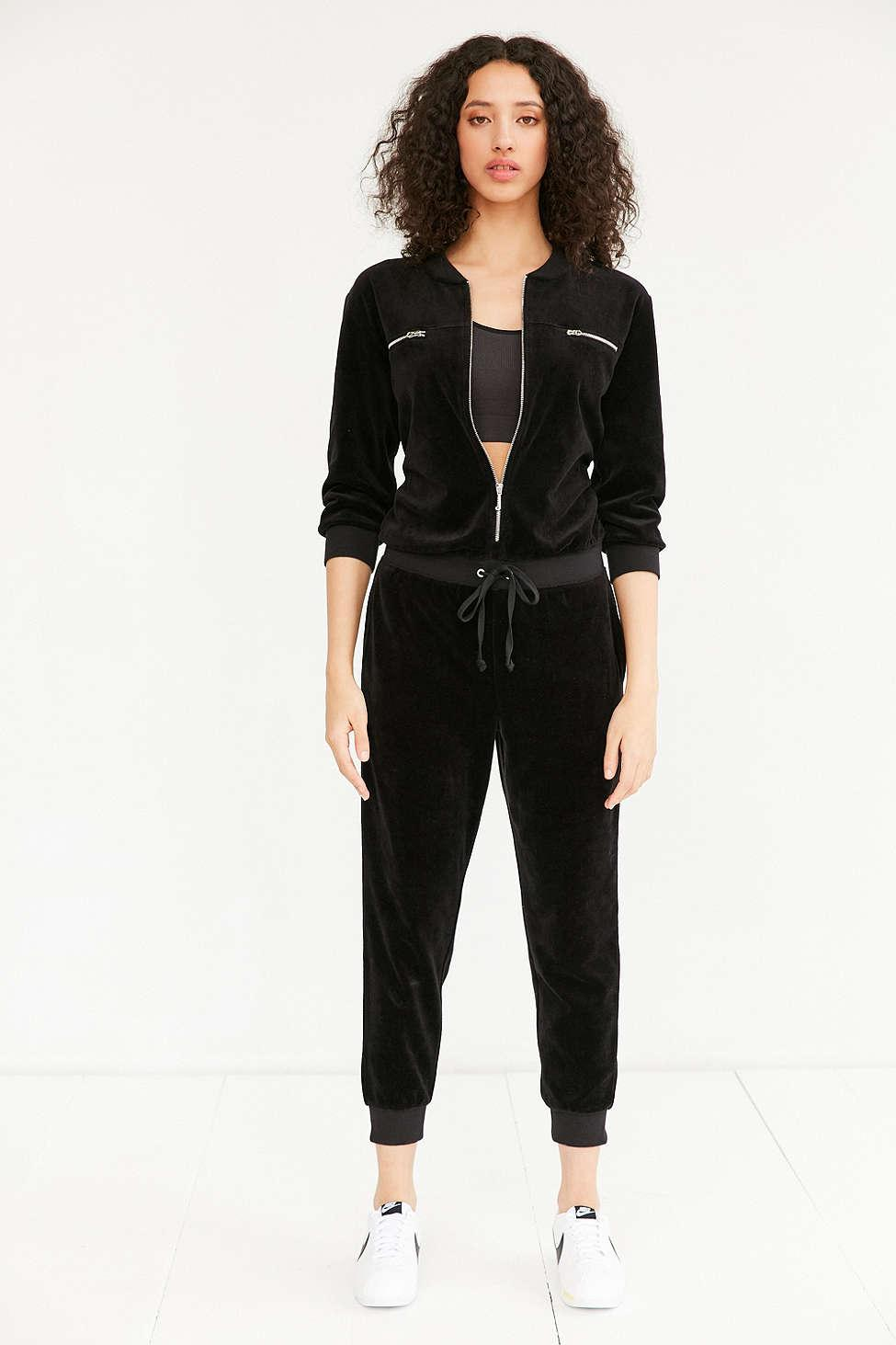Juicy Couture For Uo Velour Coverall Jumpsuit In Black Lyst