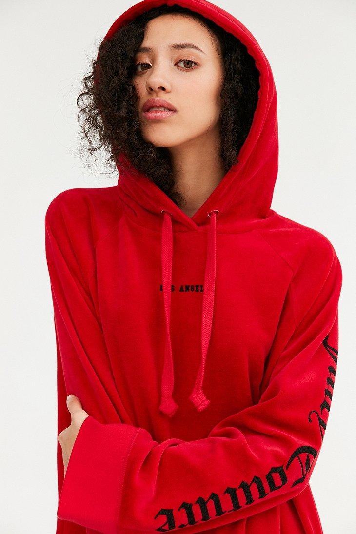 858f55ef8a40 Lyst - Juicy Couture For Uo Oversized Velour Hoodie - Womens M in Red
