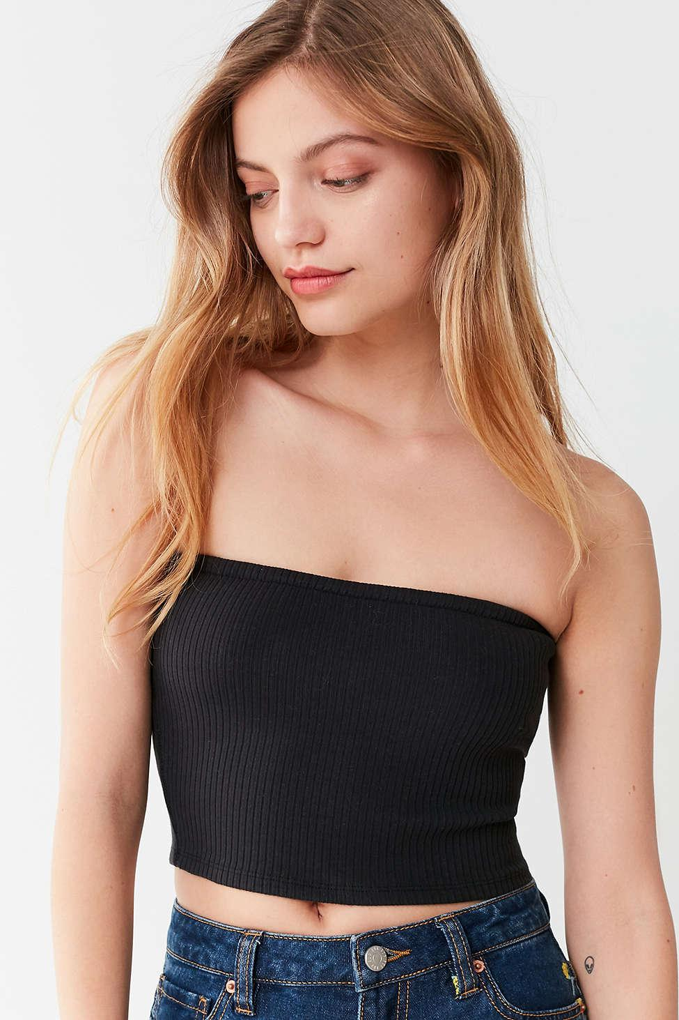 df3192c530 Lyst - Urban Outfitters Uo Hallie Ribbed Knit Tube Top in Black