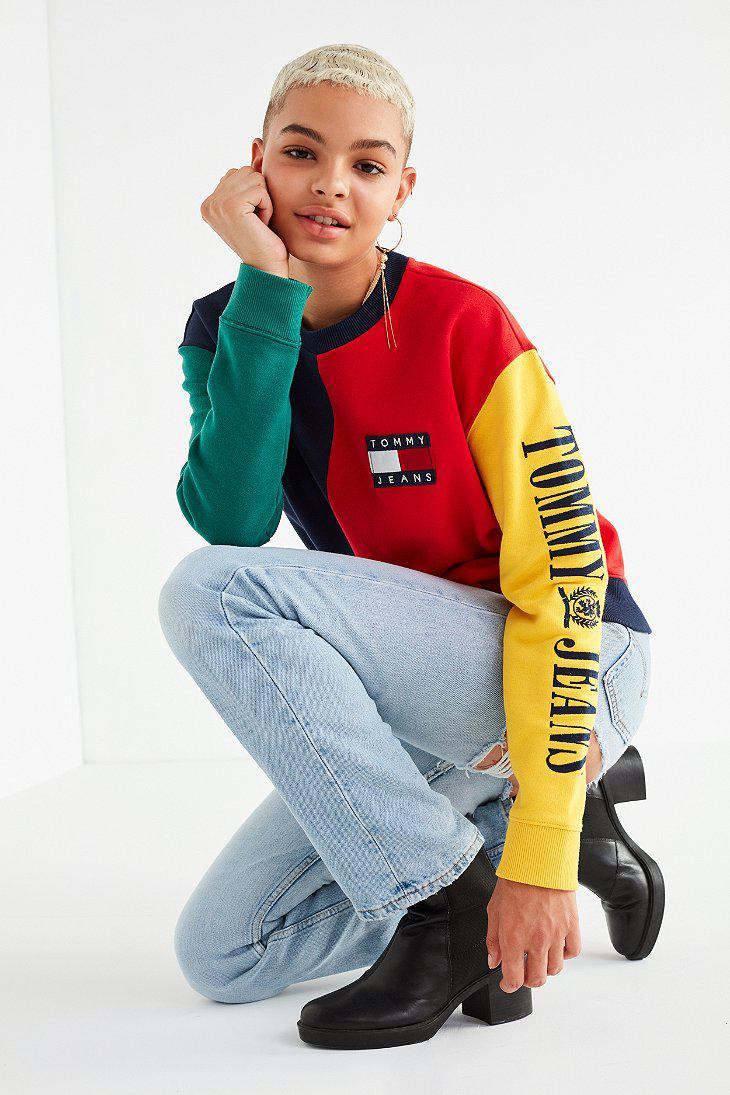 fa07c40f0f99ea Tommy Hilfiger Tommy Jeans '90s Colorblock Sweatshirt in Red - Lyst