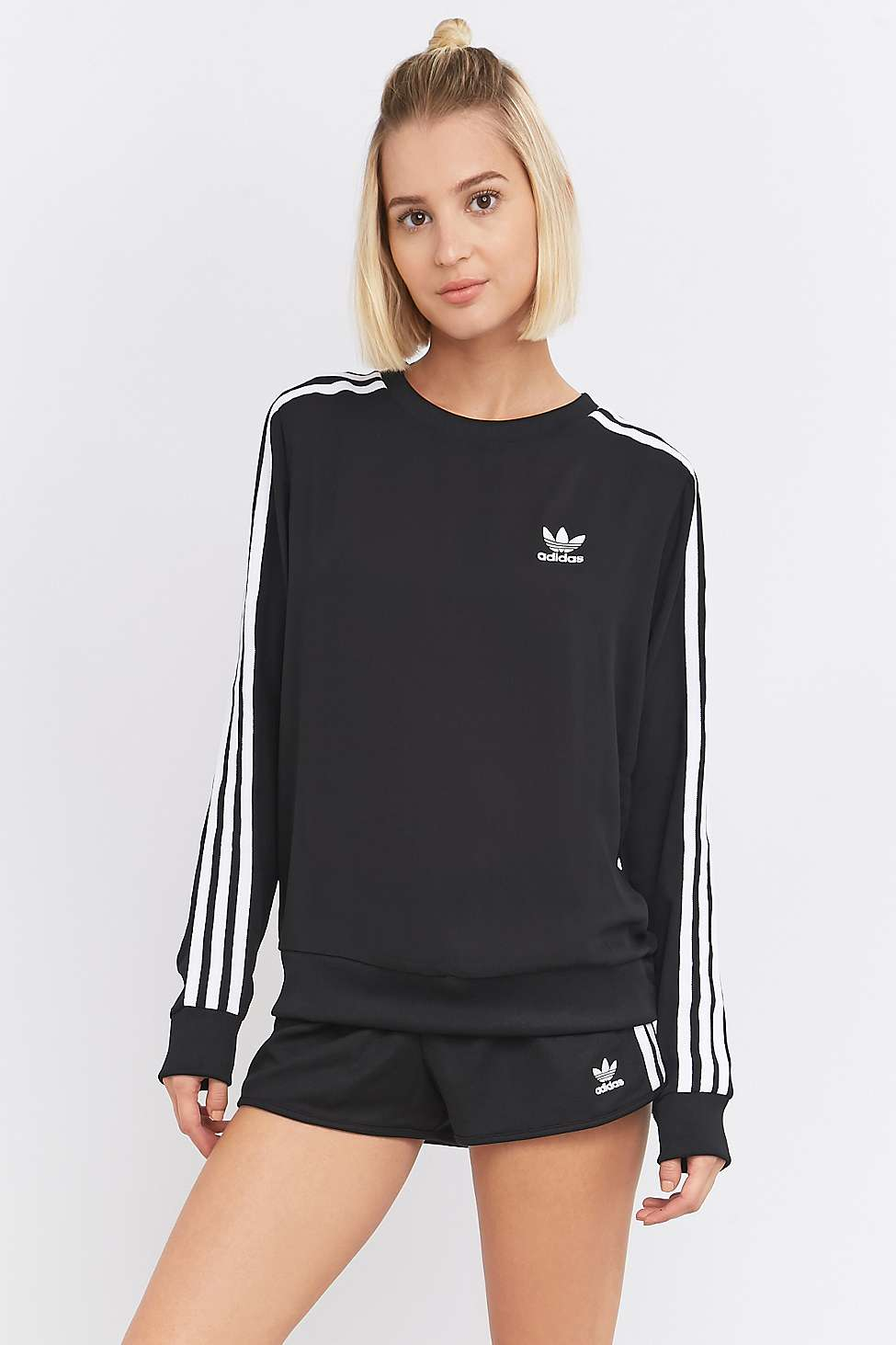 adidas originals 3 stripe long sleeve black jumper in black lyst. Black Bedroom Furniture Sets. Home Design Ideas