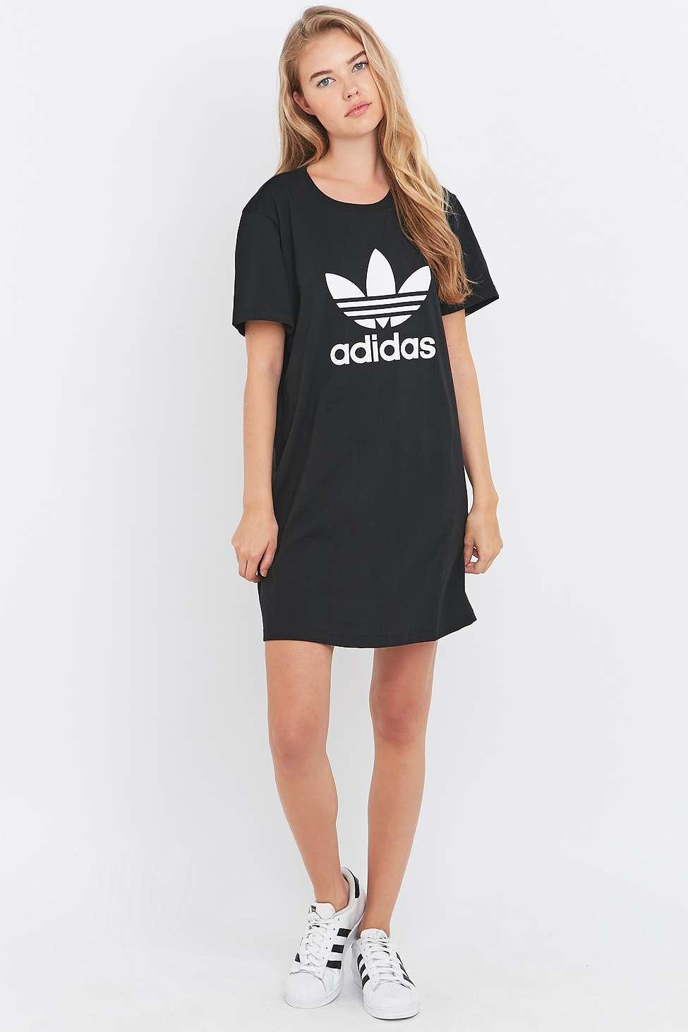 adidas originals black trefoil t shirt dress in black lyst. Black Bedroom Furniture Sets. Home Design Ideas