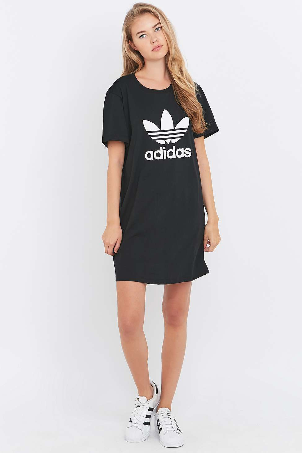 Adidas originals Black Trefoil T-shirt Dress in Black | Lyst
