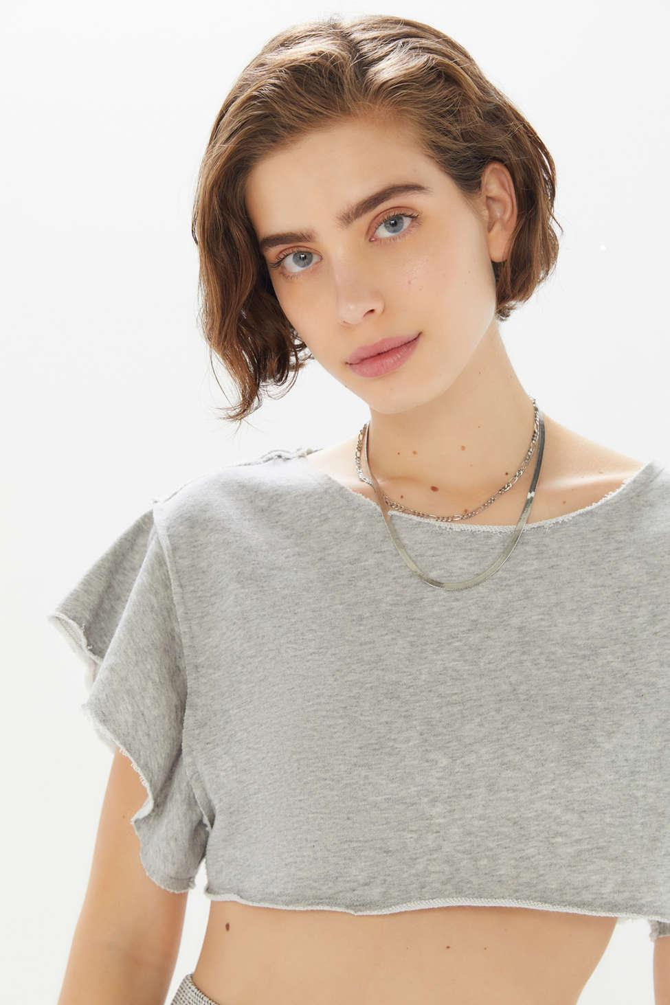 2c8944cec Lyst - Urban Outfitters Uo Rosita Ruffle Cutoff Cropped Top in Gray