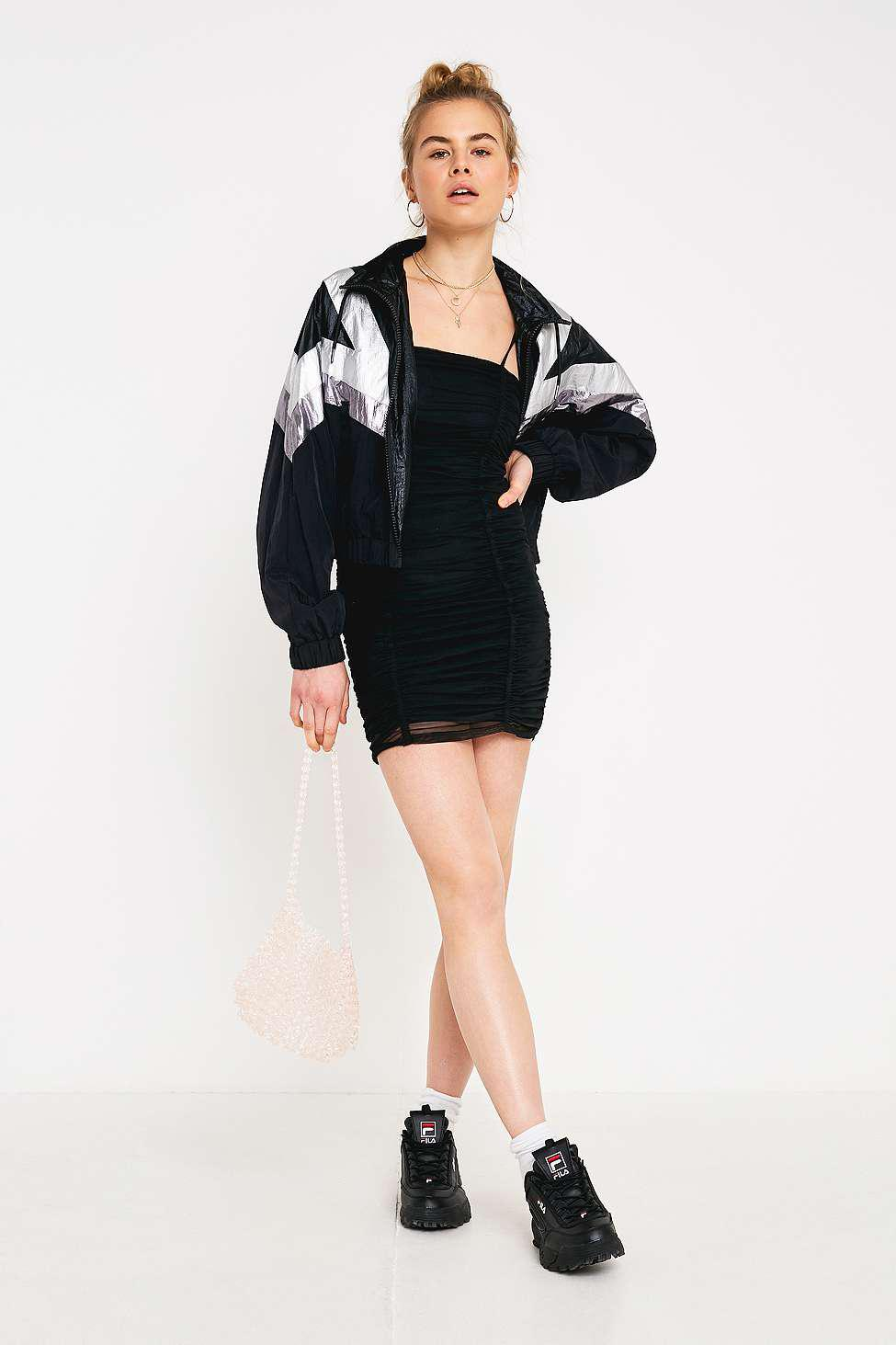 0d40a8d8ef9 Urban Outfitters - Uo Black Ruched Mesh Mini Dress - Lyst. View fullscreen