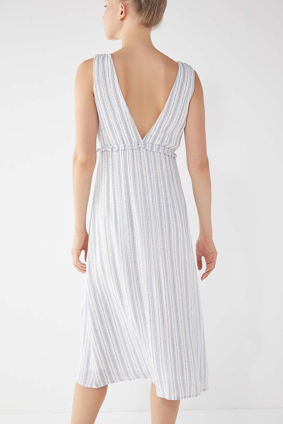 5494e8e74af48 Lyst - Urban Outfitters Uo Empire-waist Surplice Striped Midi Dress
