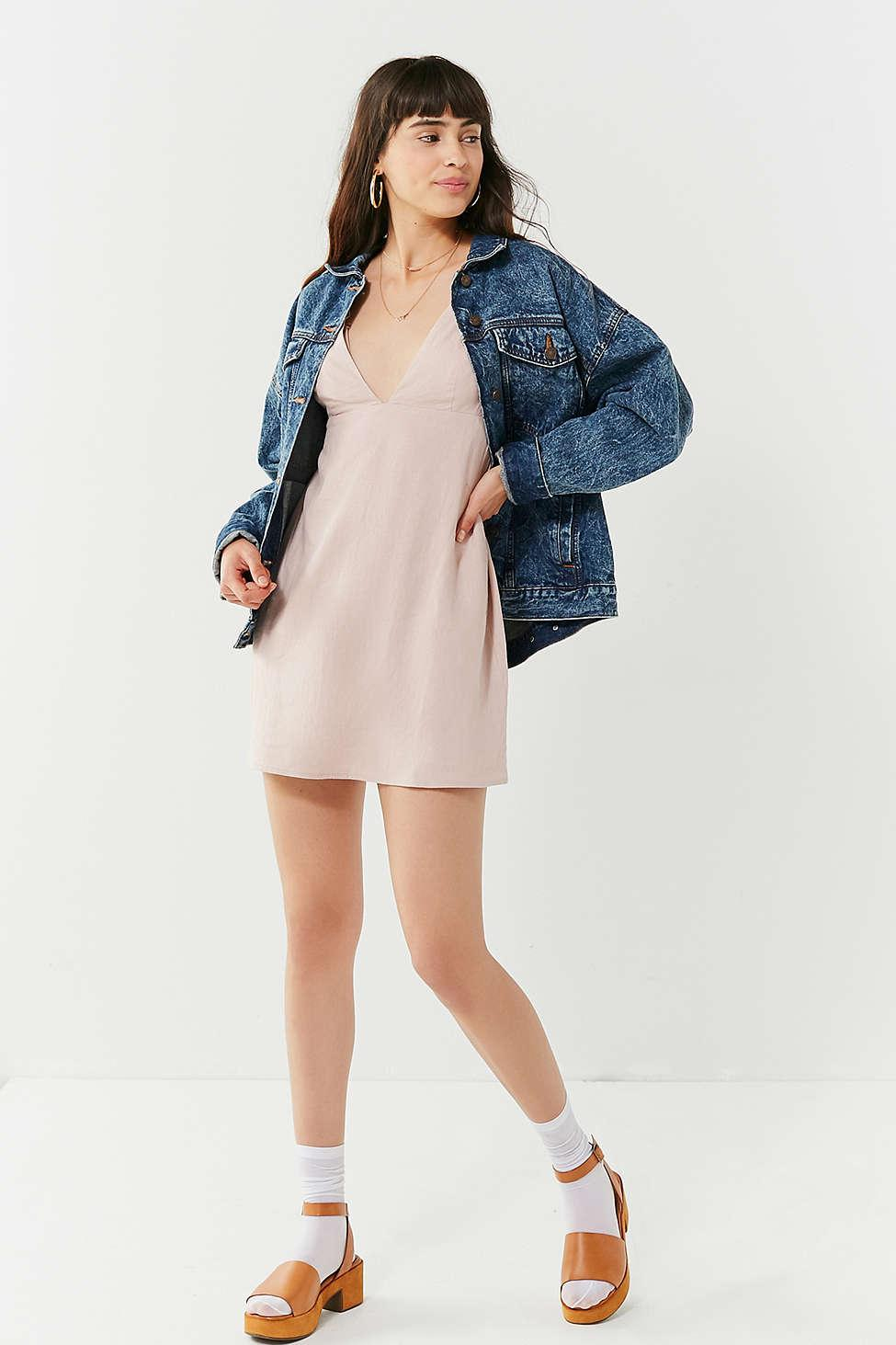 3efae0f342 Lyst - Urban Outfitters Uo Breezy Plunging Linen Mini Dress in Pink