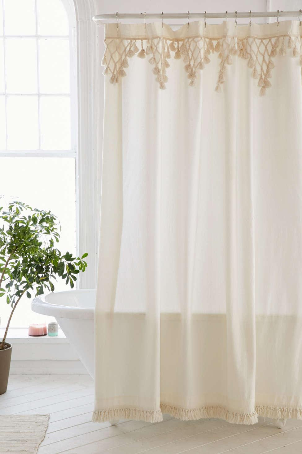 Urban Outfitters Mens Natural Topanga Fringe Shower Curtain