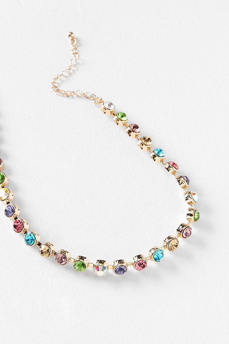 80bd73dd4f0be Lyst - Urban Outfitters Eleni Rhinestone Choker Necklace in Metallic