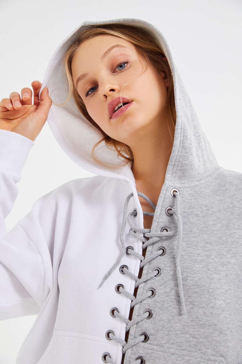 20e14d502a0f Urban Outfitters. Women s Gray Uo Tegan Spliced Lace-up Hoodie Sweatshirt