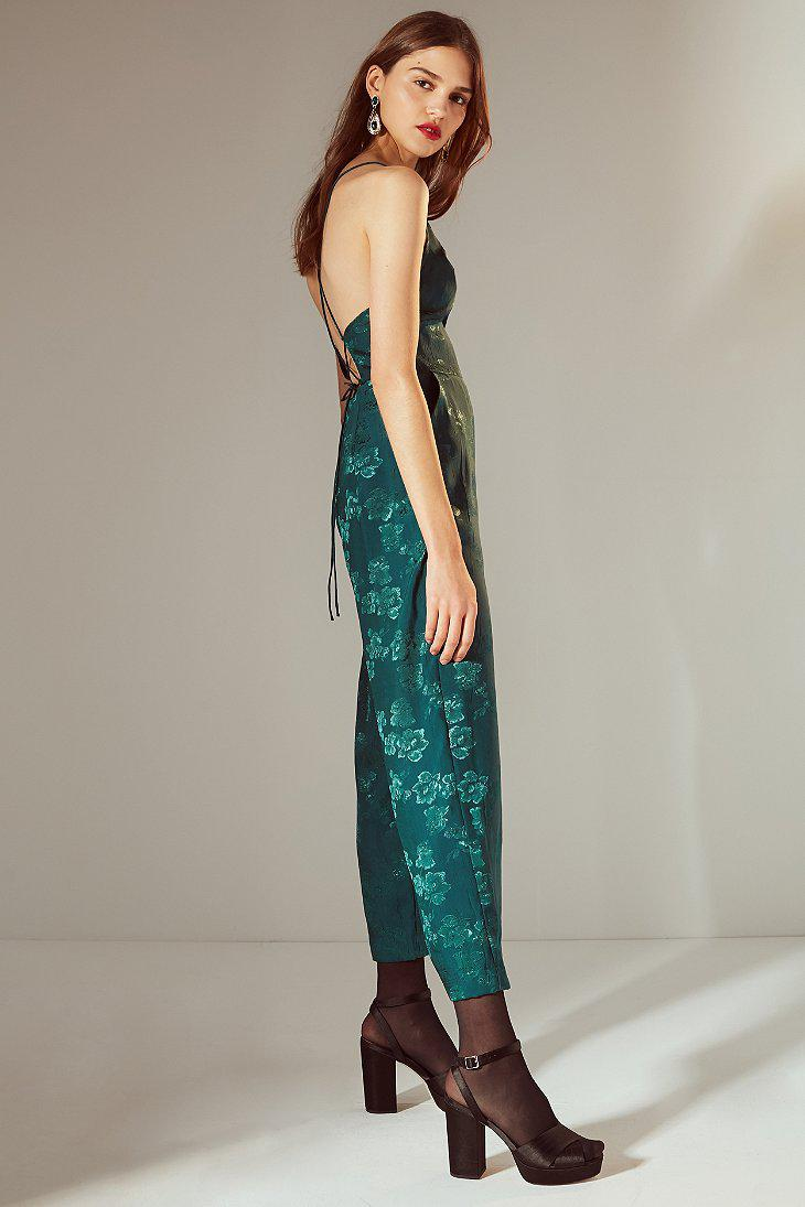 379f1055f0d Lyst - Urban Outfitters Uo Lily Jacquard Lace-up Jumpsuit in Green