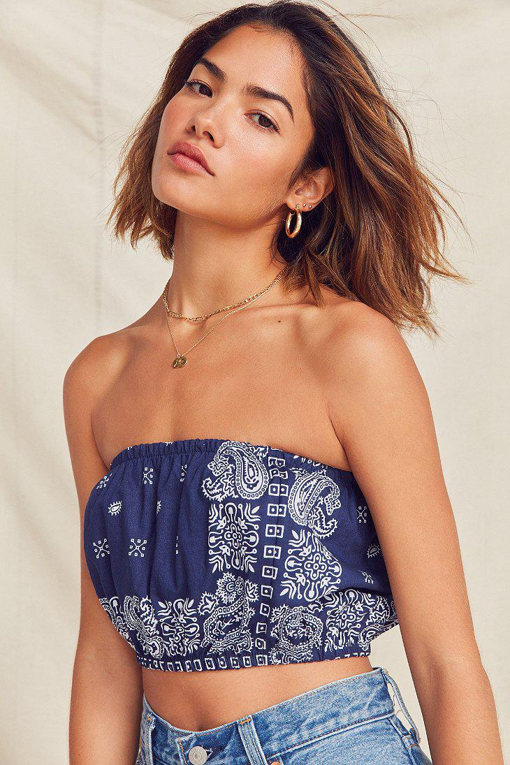 a1db1b59c1 Lyst - Urban Outfitters Remade Bandana Tube Top in Blue