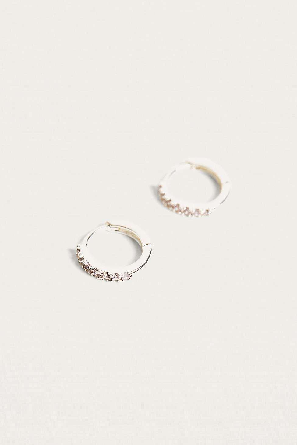 42c177fd7c Estella Bartlett Silver Plated Pave Hoop Earrings - Womens All in ...