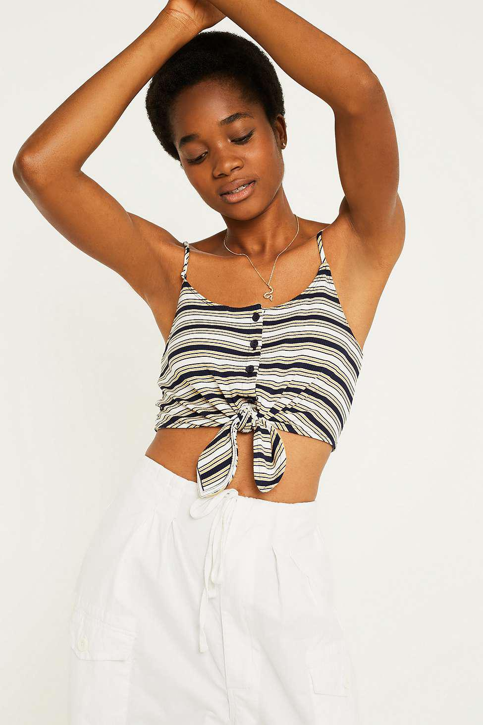 f0846eac6 Urban Outfitters Uo Striped Tie-front Cami - Womens S in White - Lyst