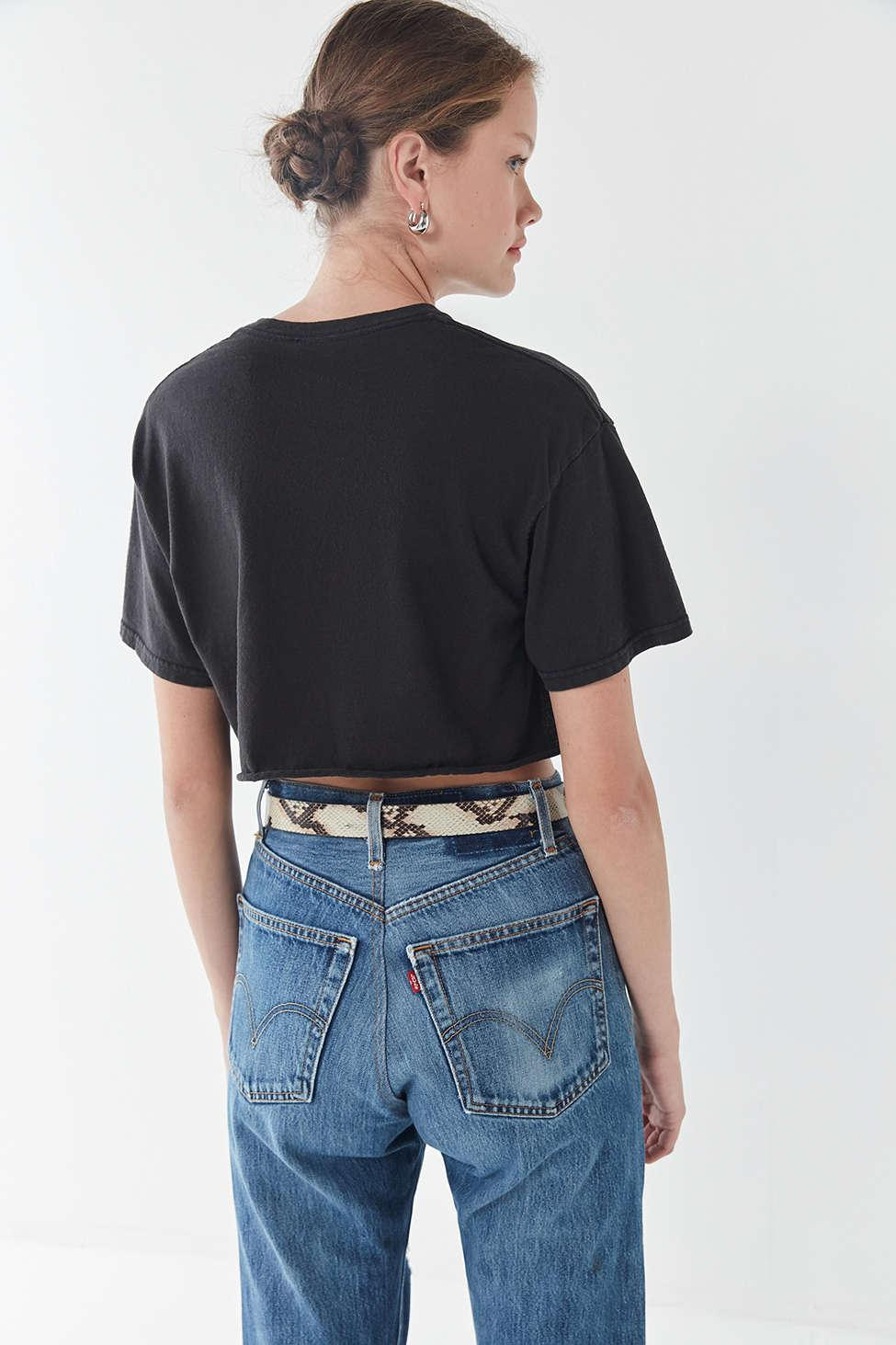 56d3c9992f77b Lyst - Urban Outfitters Ac dc Cropped Tee in Black