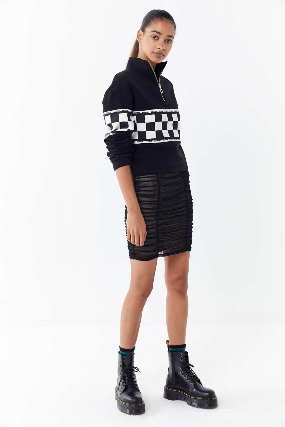 3fbc2e7acc8 Urban Outfitters - Black Uo Della Mesh Ruched Mini Skirt - Lyst. View  fullscreen