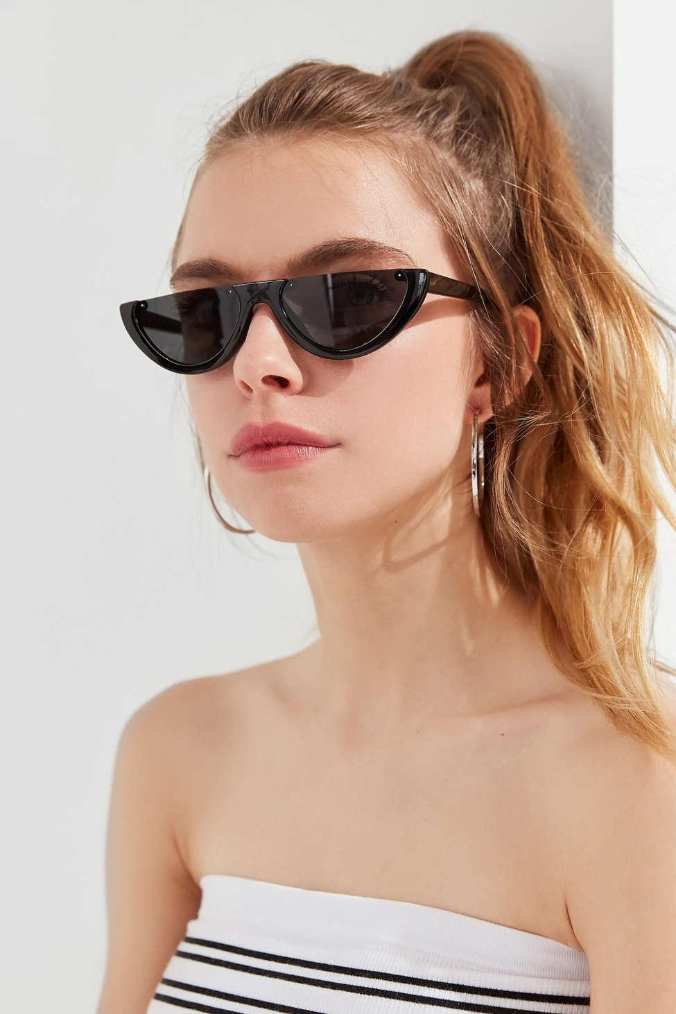 e06f424885eb4 Lyst - Urban Outfitters Half Moon Slim Sunglasses in Black
