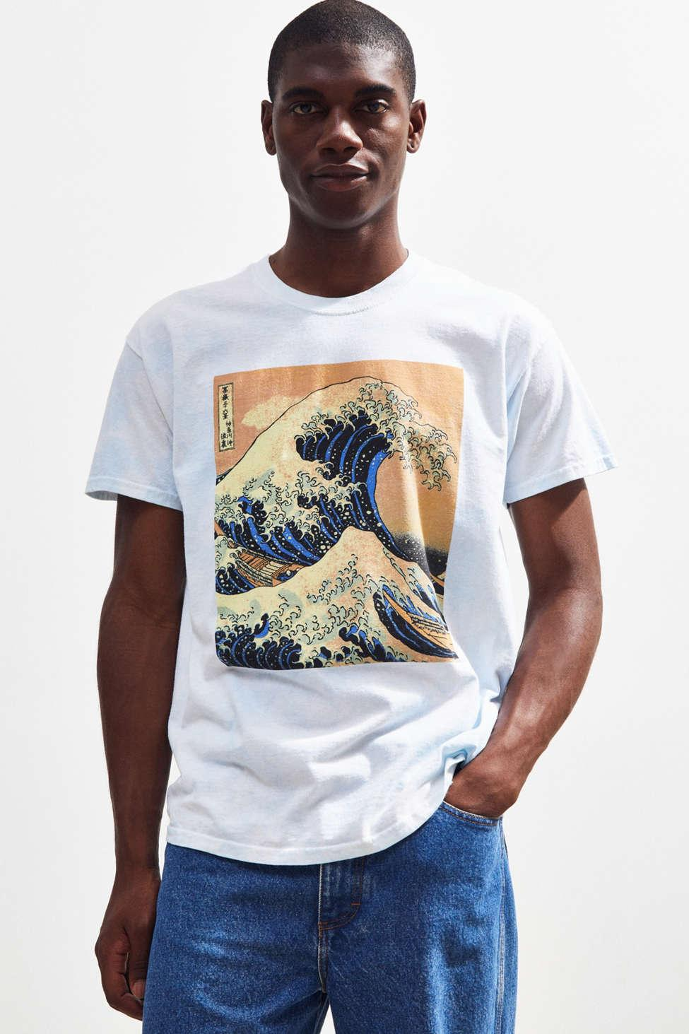 821c0236e Urban Outfitters - Blue Dyed Hokusai Wave Tee for Men - Lyst. View  fullscreen