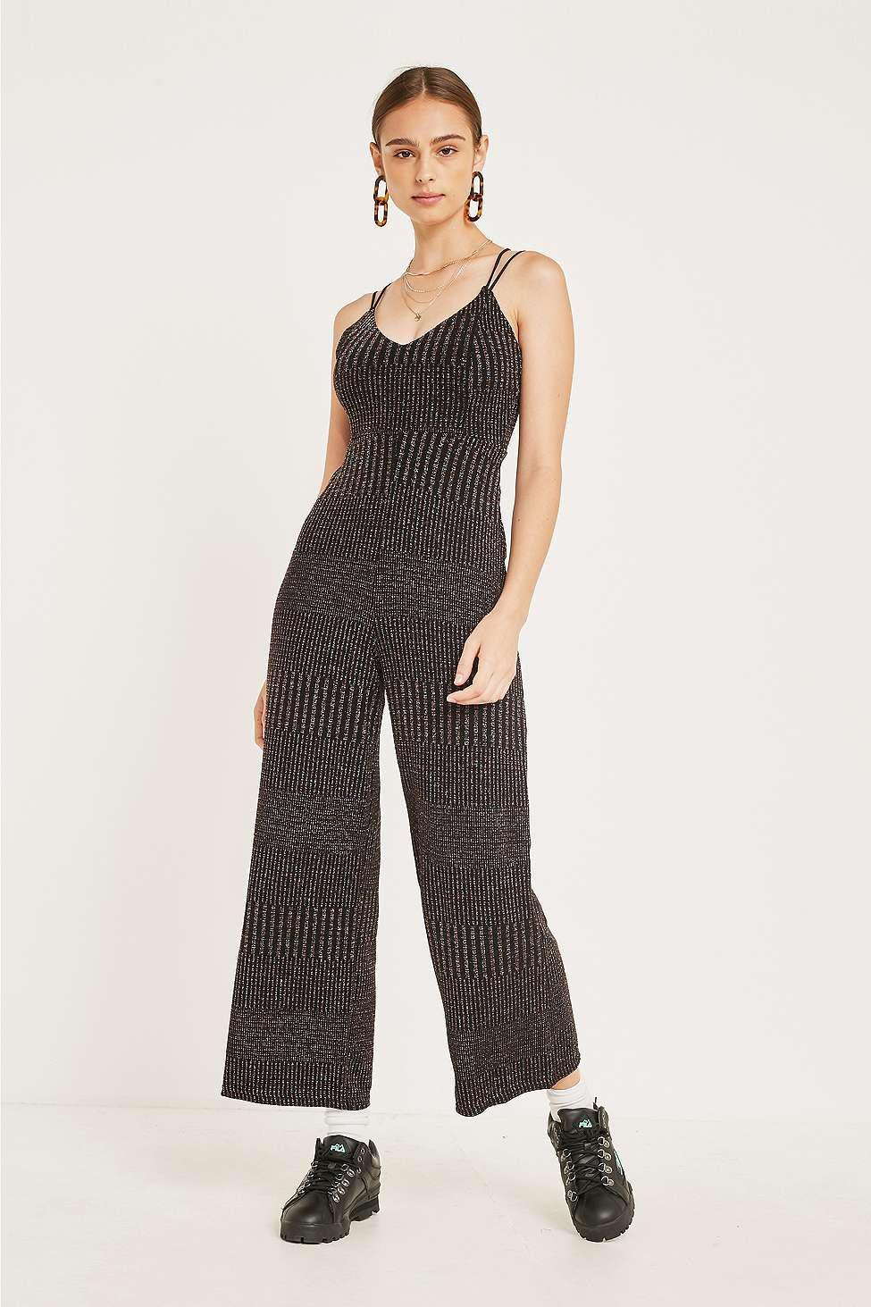 410382bb600a Urban outfitters designer black uo rainbow sparkle stripe strappy back  jumpsuit jpg 975x1463 Black jumpsuit urban