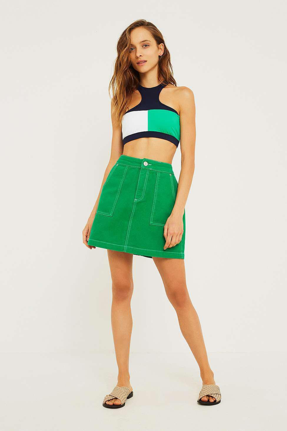 5acd157b Tommy Hilfiger Navy And Green Colour Block Crop Bikini Top - Womens ...